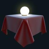 Glödande magisk boll på en fyrkantig tabell Stock Illustrationer