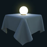 Glödande magisk boll på en fyrkantig tabell Vektor Illustrationer