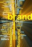 glödande marknadsföringswordcloud för märke Arkivfoton