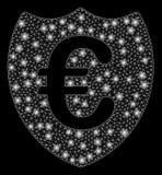 Glödande Mesh Carcass Euro Shield med pråliga fläckar vektor illustrationer