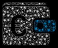 Glödande Mesh Wire Frame Euro Purse med signalljusfläckar vektor illustrationer
