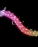 glödande musikanmärkningar Royaltyfri Foto