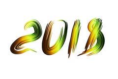 Glödande neon figurerar vektorn 2018 Hälsningkort för nytt år, inbjudan, baner vektor illustrationer