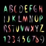 Glödande neonbokstäver för vektor. Fotografering för Bildbyråer