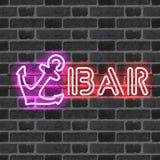 Glödande neonstångtecken med lilaankaret Fotografering för Bildbyråer