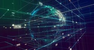 Glödande partikeljordklot som roterar med slumpmässigt nummer, och cirkel som upp och ner flyttar sig i vätskerasterlinjen system arkivfilmer