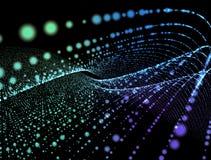 Glödande partiklar för abstrakt digital bakgrund i utrymme Royaltyfri Bild