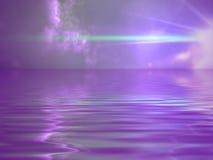 glödande purpurt hav Fotografering för Bildbyråer