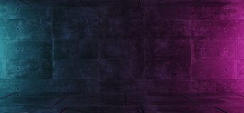 Glödande rum för tomma Retro för neon mörka lilor för Grunge konkreta blåa med utrymme för tolkning för begrepp 3D för textbakgru royaltyfri illustrationer