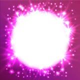 Glödande rund ram för stjärna Det kan användas som en effekt i fotoet Stjärnklar himmel i en cirkel på en rosa bakgrund Royaltyfri Bild