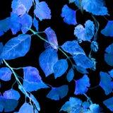 Glödande sidor för neon Mystisk sömlös modell för natt vattenfärg royaltyfri bild