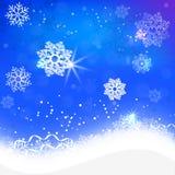 Glödande snöflingor på en blå bakgrundssnö stock illustrationer