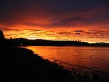 glödande solnedgång Arkivfoto