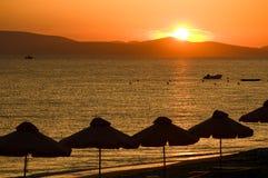 glödande sun för strand Royaltyfria Bilder
