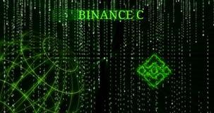 Glödande symbol för Binance mynt BNB mot de fallande symbolerna för binär kod stock video