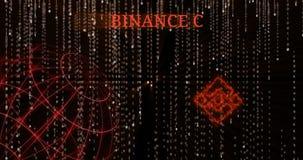 Glödande symbol för Binance mynt BNB mot de fallande symbolerna för binär kod arkivfilmer