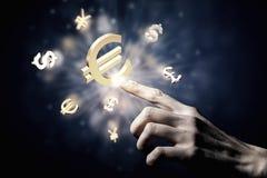 Glödande symboler för valuta Arkivbild