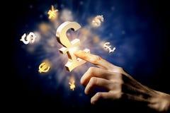 Glödande symboler för valuta Royaltyfri Bild