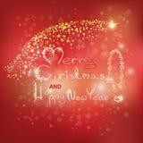 Glödande text av glad jul royaltyfri bild