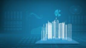 Glödande tråd-ram byggnader på genomskinliga nivåer Arkivbilder