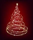 glödande treevektor för jul Arkivfoton