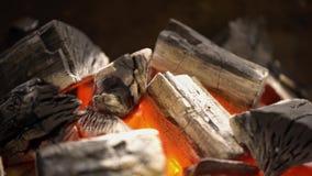 Glödande varmt kol i BBQ-gallret Pit With Flames, närbild Brännande nära övre för kol stock video
