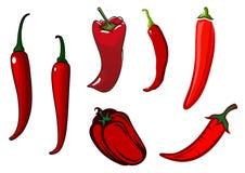 Glödhet chili, kajennpeppar och spanska peppar Arkivbilder