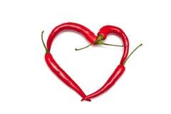 Glödhet peppar-hjärta Arkivbilder