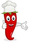 Glödheta Chili Pepper Chef Character Arkivfoto
