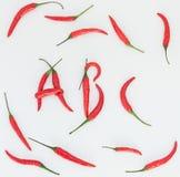 Glödhett chilistavningsord abc Arkivbild