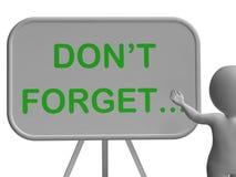 Glöm inte Whiteboard shower som minns uppgifter och återkallning Royaltyfri Fotografi