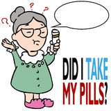 glömmer att hon medicinen tar till kvinnan Arkivbilder