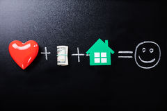 Glück-Formel auf Tafel Stockfotos
