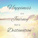 Glück ist Bestimmungsort der Reise nicht Stockbild