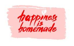 Glück ist selbst gemacht Inspirierend Zitat über das Leben, Haus, Verhältnis Moderne Kalligraphiephrase Vektorbeschriftung stock abbildung