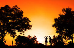 Glück-Schattenbilder Lizenzfreie Stockfotos