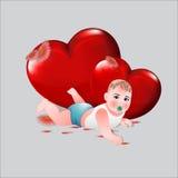 Glück von zwei liebevollen Herzen lizenzfreie abbildung