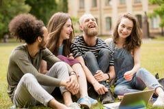Glücklich lachende Studenten auf Gras in der Universität parken Lizenzfreie Stockbilder