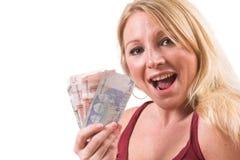Glücklich mit Geld Lizenzfreie Stockfotos