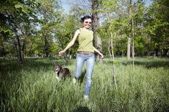 Glücklich mit Hund Stockbilder