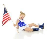 Glücklich mit ihrer Flagge Stockbilder