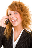 Glücklich am Telefon Stockfoto