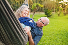 Glückliche ältere europäische Paare stockbilder
