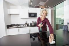 Glückliche ältere Frauenreinigungsküchenarbeitsplatte lizenzfreie stockfotos