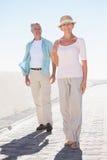 Glückliche ältere Paare, die auf den Pier gehen lizenzfreies stockbild