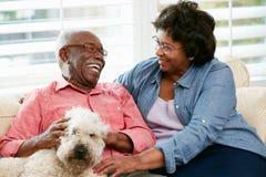 Glückliche ältere Paare, die auf Sofa mit Hund sitzen lizenzfreie stockbilder