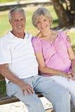 Glückliche ältere Paare, die draußen im Sonnenschein lächeln Stockfotografie
