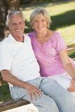 Glückliche ältere Paare, die draußen im Sonnenschein lächeln Lizenzfreie Stockbilder