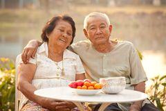 Glückliche ältere Paare, die draußen sitzen Stockbilder