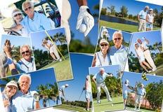 Glückliche ältere Paare, die Golf spielen lizenzfreie stockfotografie